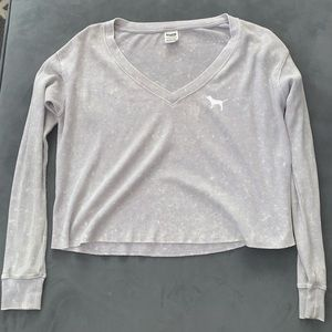 Grey Crop V-neck Top